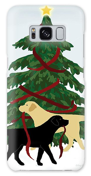 Black And Yellow Labs Trim Christmas Tree Galaxy Case