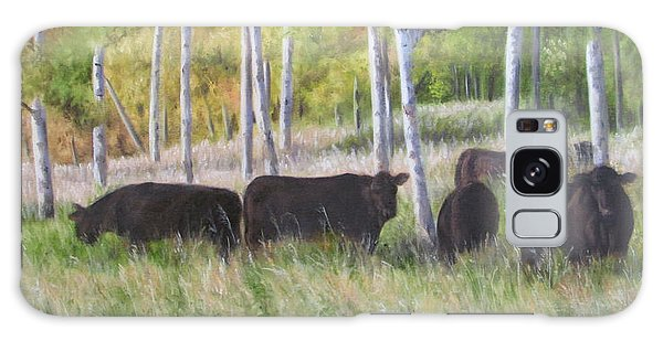 Black Angus Grazing Galaxy Case