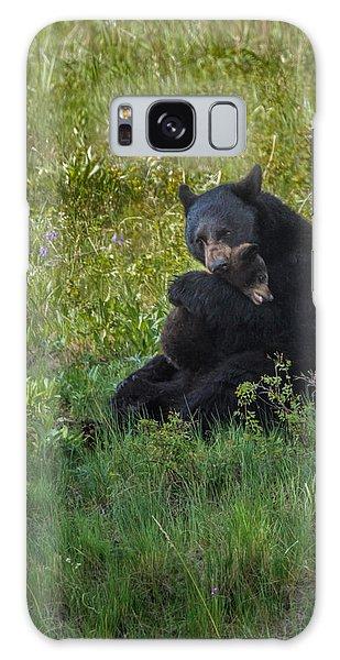 Black Bear Sow Hugging Cub Galaxy Case