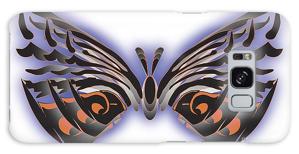 Black Blue Orange Butterfly Galaxy Case by Christine Perry
