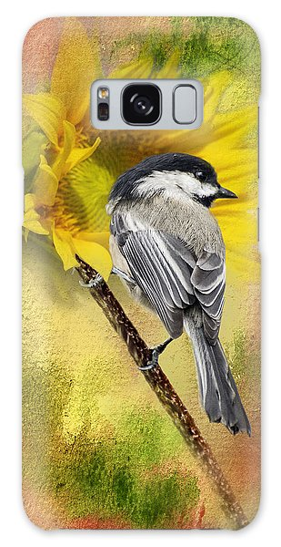 Black Capped Chickadee Checking Out The Sunflowers Galaxy Case