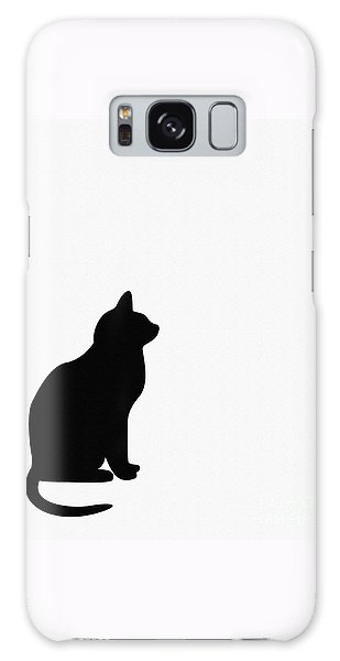 Black Cat Silhouette On A White Background Galaxy Case