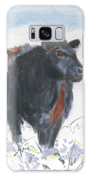 Black Cow Drawing Galaxy Case