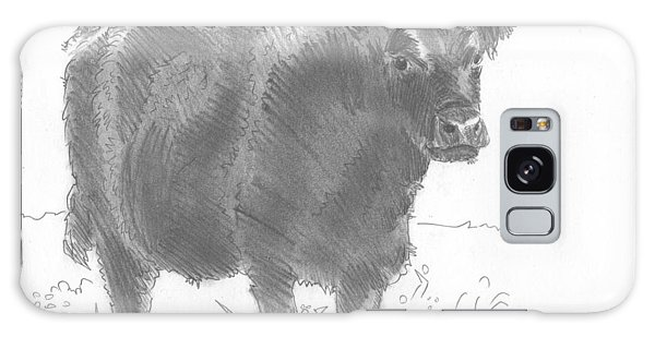 Black Cow Pencil Sketch Galaxy Case