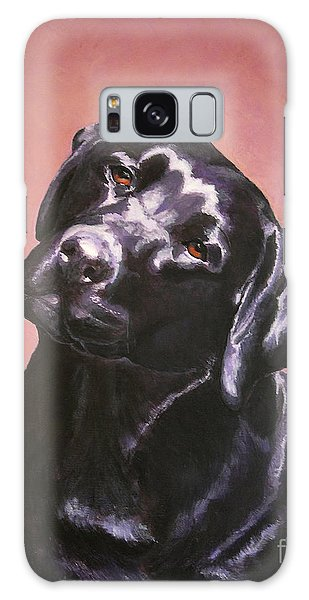 Black Labrador Portrait Painting Galaxy Case