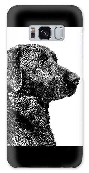 Dog Galaxy S8 Case - Black Labrador Retriever Dog Monochrome by Jennie Marie Schell