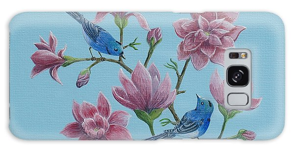 Black Naped Blue Flycatchers In Magnolias Galaxy Case by Anthony Lyon