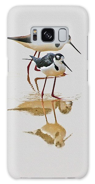 Black Neck Stilts Togeather Galaxy Case by Tom Janca