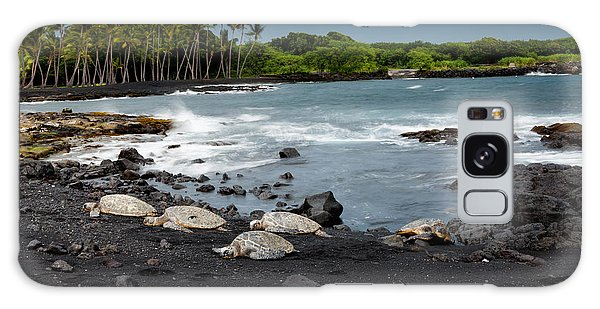 Black Sand Beach Turtles Galaxy Case by Ed Cilley