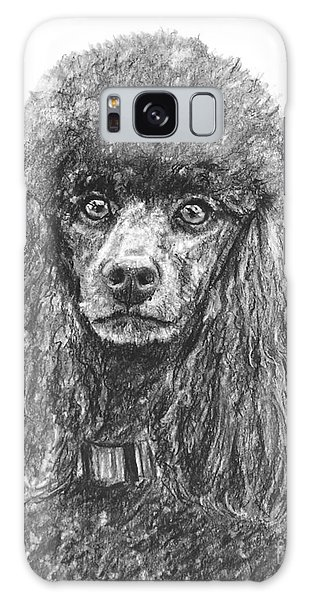 Black Standard Poodle Sketched In Charcoal Galaxy Case