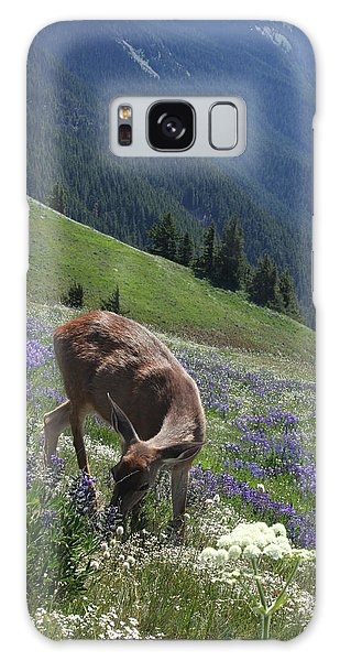 Black-tailed Deer And Lupines Galaxy Case