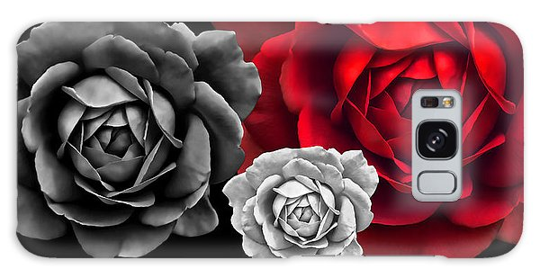 Black White Red Roses Abstract Galaxy Case