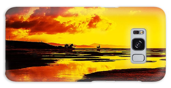 Black Yellow And Orange Sunrise Abstract Galaxy Case by Julis Simo