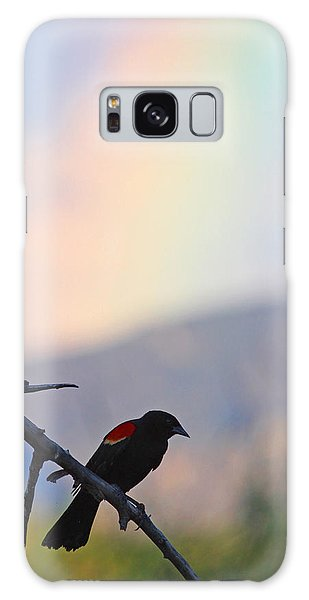 Blackbird In Front Of Rainbow Galaxy Case