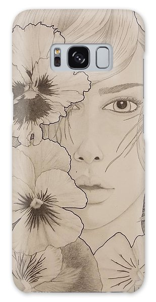 Girl With A Pearl Earring Galaxy Case - Blooming Girl Pansy Refined by Aaron El-Amin