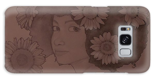 Blooming Girl Sunflower In Shade Of Purple Galaxy Case