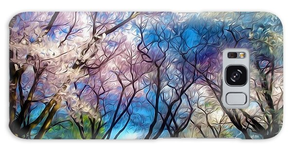 Blossom Cherry Trees Over Spring Sky Galaxy Case by Lanjee Chee