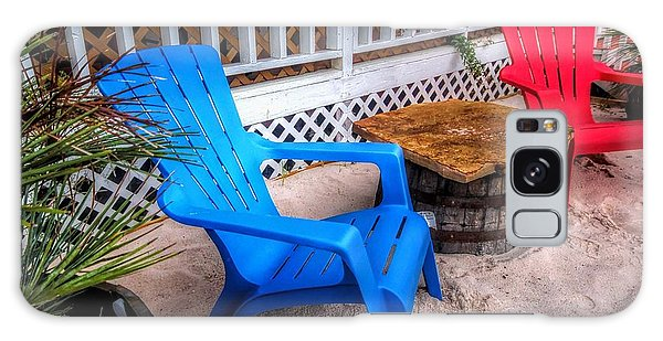 Blue And Red Chairs Galaxy Case by Michael Thomas
