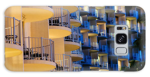 Blue And White Hotel Balcony Abstract. Galaxy Case