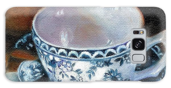 Blue And White Teacup With Spoon Galaxy Case by Marlene Book