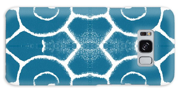 Blue And White Wave Tile- Abstract Art Galaxy Case by Linda Woods
