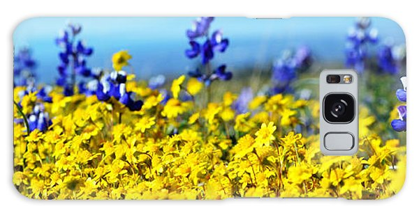 Blue And Yellow Wildflowers Galaxy Case by Holly Blunkall
