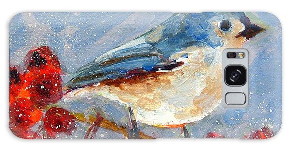 Blue Bird In Winter - Tuft Titmouse Modern Impressionist Art Galaxy Case