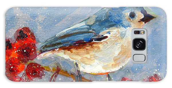 Blue Bird In Winter - Tuft Titmouse Modern Impressionist Art Galaxy Case