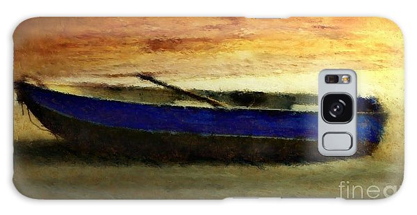 Blue Boat At Sunset Galaxy Case