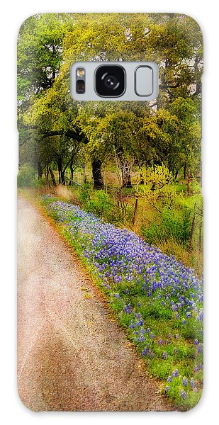Blue Bonnet Path Galaxy Case by Joan Bertucci