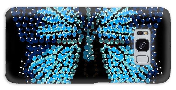 Blue Butterfly Black Background Galaxy Case