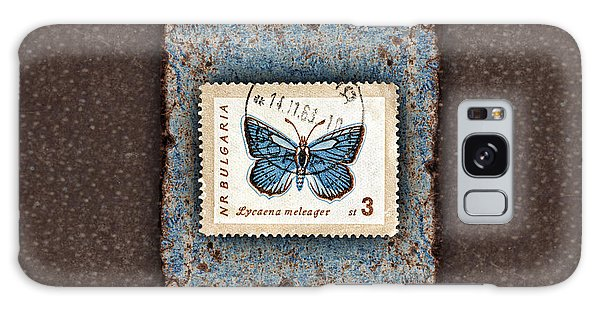 Blue Butterfly On Copper Galaxy Case by Carol Leigh