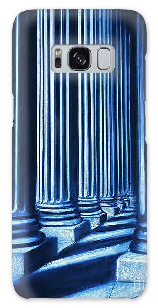 Blue Columns Original Pastel Art Galaxy Case