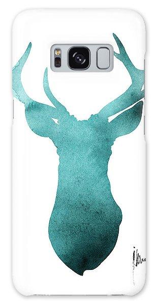 Deer Galaxy Case - Blue Deer Antlers Watercolor Art Print Painting by Joanna Szmerdt