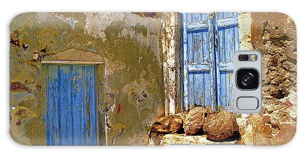 Blue Doors Of Santorini Galaxy Case