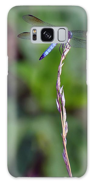 Blue Dragonfly On A Blade Of Grass  Galaxy Case