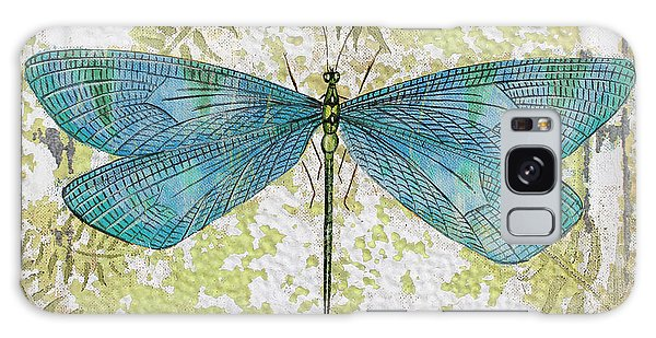 Blue Dragonfly On Vintage Tin Galaxy Case by Jean Plout