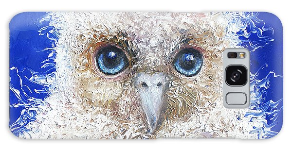 Blue Eyed Owl Painting Galaxy Case