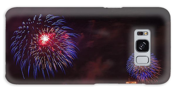 Blue Fireworks Over Domino Sugar Galaxy Case by Bill Swartwout