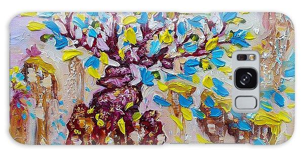 Blue Flower Painting Tree Art Oil On Canvas By Ekaterina Chernova Galaxy Case