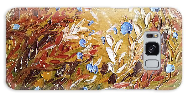 Blue Flowers Abstract Painting  Galaxy Case