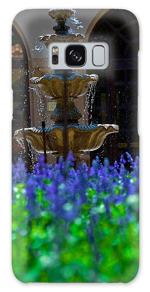 Blue Flowers And A Fountain Galaxy Case