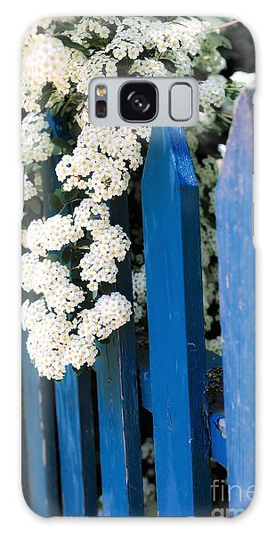 Cottage Galaxy Case - Blue Garden Fence With White Flowers by Elena Elisseeva