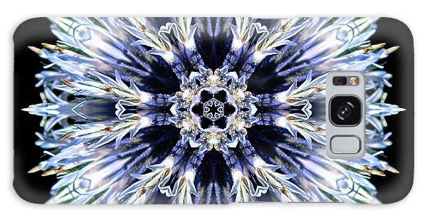 Blue Globe Thistle Flower Mandala Galaxy Case