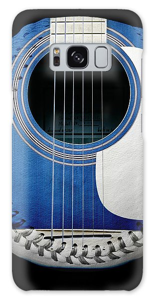 Blue Guitar Baseball White Laces Square Galaxy Case by Andee Design