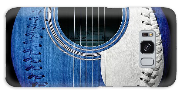Blue Guitar Baseball White Laces Square Galaxy Case