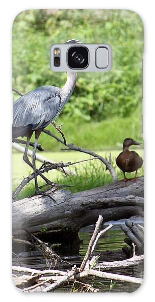 Blue Heron And Friend Galaxy Case by Debbie Hart