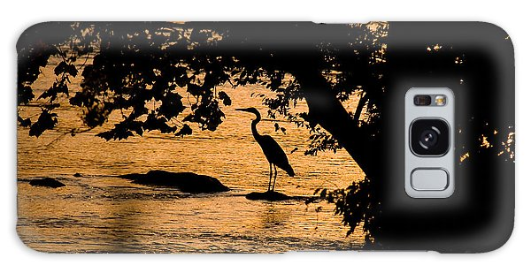 Blue Heron At Sunset Galaxy Case