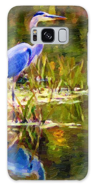 Blue Heron Galaxy Case by Chuck Mountain