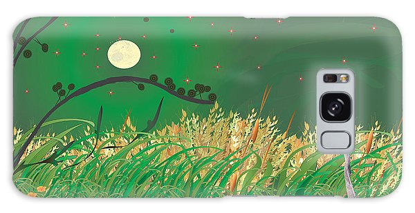 Blue Heron Grasses Galaxy Case